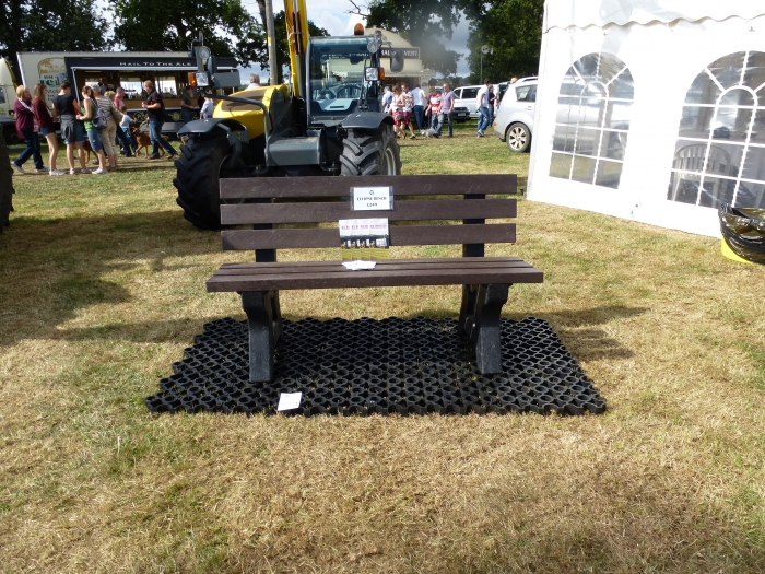 Recycled products on display - the eclipse bench and ground reinforcement blocks!