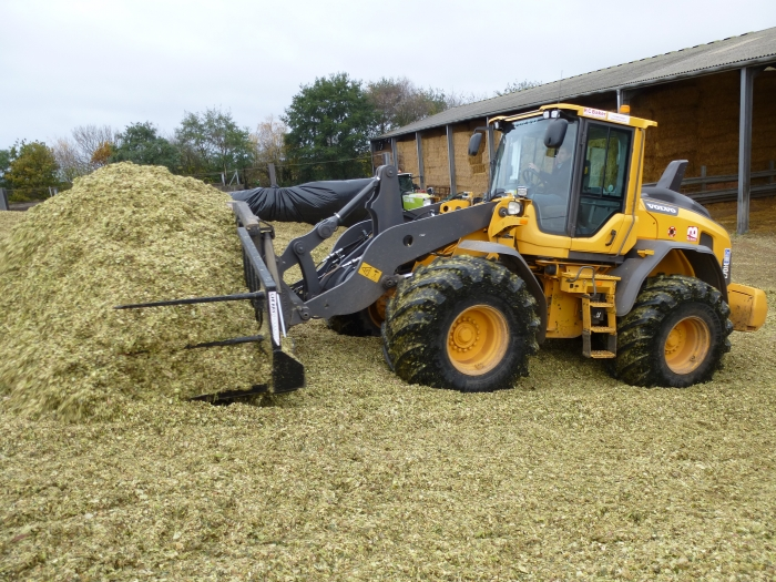 Our Volvo L70H pushing up the clamp