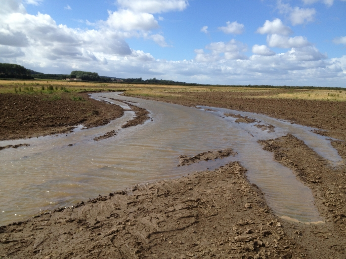 Creating foot drains using the rotary ditcher in Hollesley, Suffolk